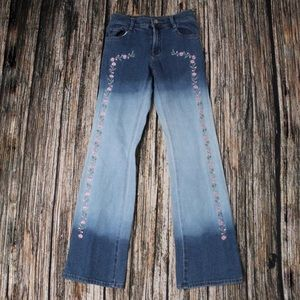 Vintage Blue Colour Block Floral Embroidered Jeans